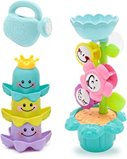 Lydaz Bath Toys, Kids Flower Waterfall Water Station, Stacking Cups and Watering Can Plus Bath Toy Organizer, Strong Suction Cups Bathtub Toy for Toddlers Baby 1 2 3 Year Old