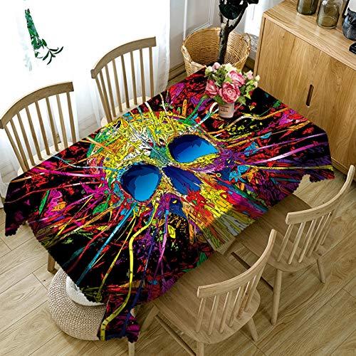 Rubyia Dinning Table Cloth, Antiflecken Tischdecks Ausgefallenes Totenkopf Muster, Polyester, Bunt, 90 x 140 cm