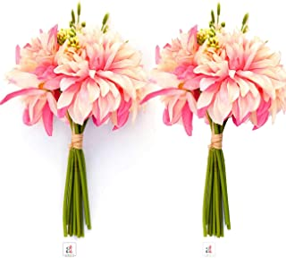 White & Pink Beautiful Artificial Flowers Set of 2 Bunch for Home Decoration, 11 Flower Heads in a 1 Bunch, Size- 7 x11 In...