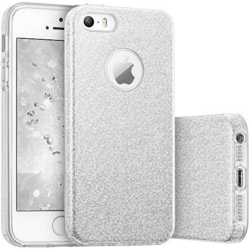 Coovertify Funda Purpurina Brillante Plateada iPhone 5/5S/SE, Carcasa Resistente de Gel Silicona con Brillo Gris Plata para Apple iPhone 5 5S SE