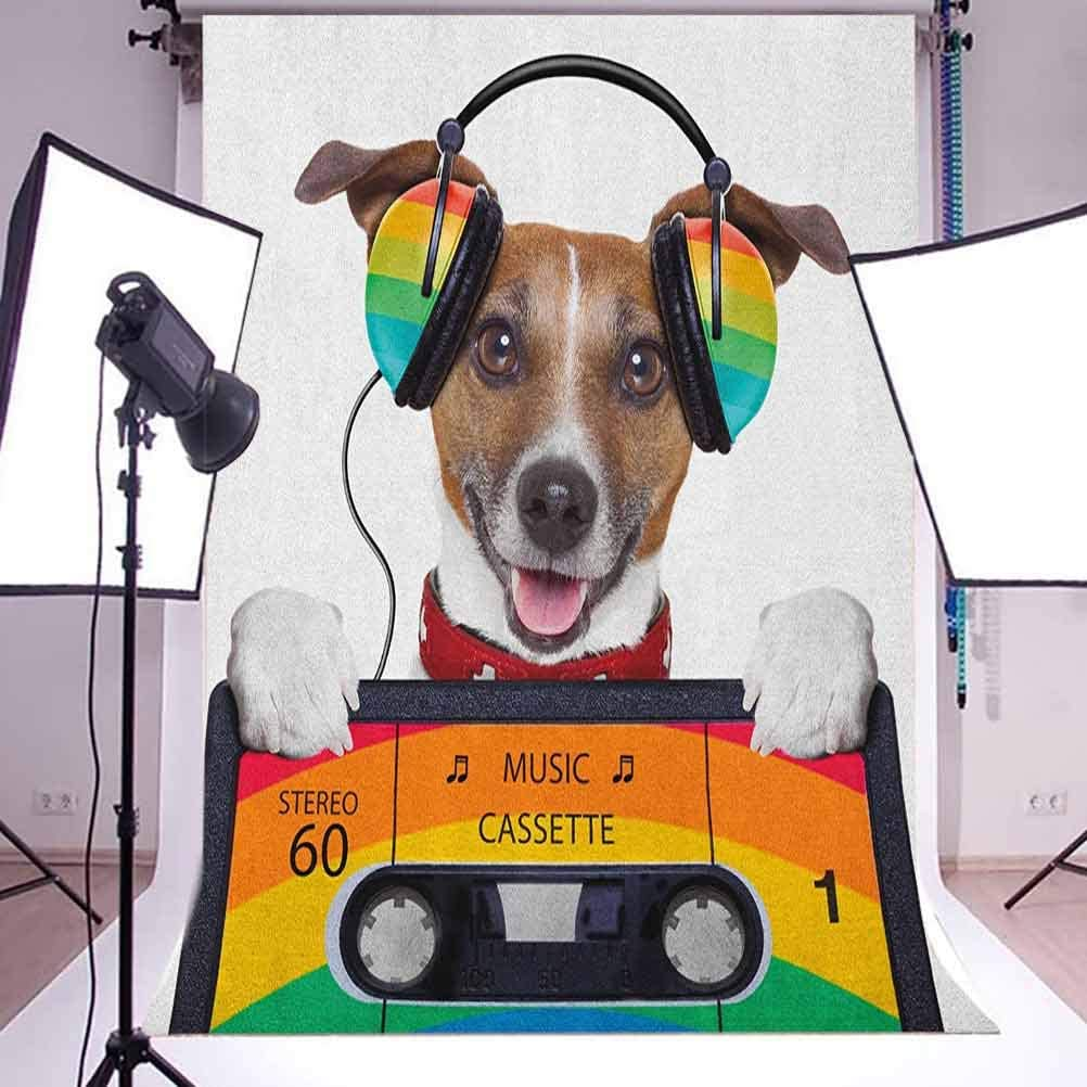 8x12 FT Popstar Party Vinyl Photography Backdrop,Dog Listening to Music from an Old Cassette of The 80s Colorful Headphones Background for Party Home Decor Outdoorsy Theme Shoot Props