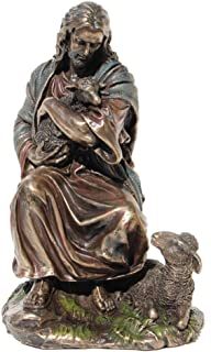 8.88 Inch Jesus Holding A Baby Lamb Cold Cast Bronze Figurine