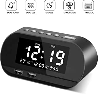 VEGKEY Digital Alarm Clock Radio, Small Alarm Clock with FM Radio, 6 Brightness, Dual USB Charging Ports, Temperature Display, Snooze, Dual Alarms with 6 Alarm Sounds for Bedrooms, Bedside, Desk