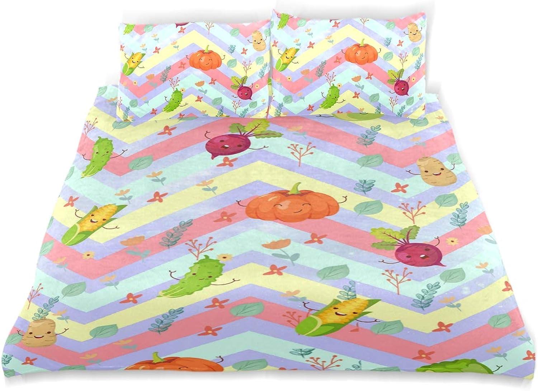 Vipsa Parure de lit 3 pièces avec Housse de Couette et taie d'oreiller Motif légumes 100% Coton avec Fermeture éclair Bio Moderne Parure de lit pour Enfant