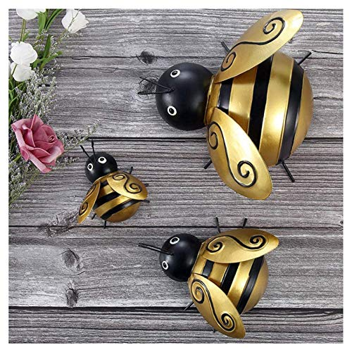 LKOPYUo Metal Bumble Bee Decorations, Insects Lures Home Garden Decoration, Figurines Decorations, 3D Sculpture Ornaments, Lawn Bar Bedroom Living Room Wall Hanging Bumblebee Art Decoration Wall Art