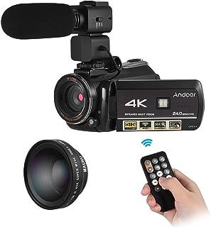 كاميرا اندور AC3 4K الترا اتش دي 24 ميجا بكسل كاميرا فيديو رقمية DV تسجيل 30X زووم اتصال واي فاي رؤية ليلية 3.0/ LCD مع عدسة زاوية عريضة 0.45X + ميكروفون خارجي