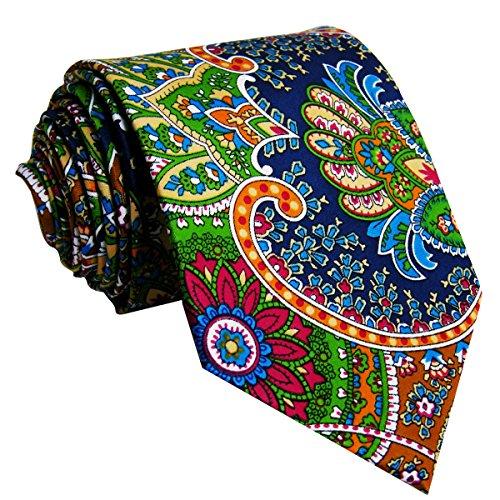 Shlax&Wing Mode Herren Hochzeit Seide Krawatte Mehrfarbig Geometrisch Blumen Extra Lang