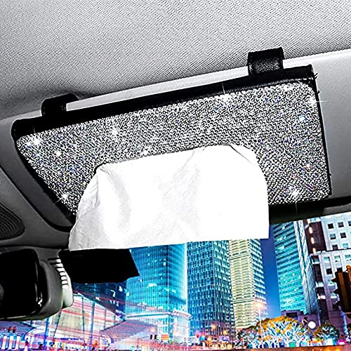 Bling Bling Car Visor Tissue Holder, PU Leather Car Sun Visor Tissue Storage Box, Crystal Sparkling Napkin Cover Case, Paper Towel Cover Case Mask Bags for Car (Black)
