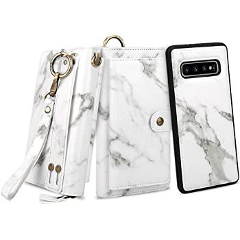 Petocase Compatible Galaxy S10 Wallet Case, Multi-Functional PU Leather Zip Wristlets Clutch Detachable Magnetic 13 Card Slots 4 Cash Purse Protection Back Cover for Samsung Galaxy S10 White Marble