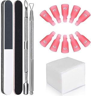 GeekerChip Kit de Herramientas para Uñas Removedor Clip10 clip para los dedos+100 Removedor Almohadillas+2 Lima de Uñas+1...