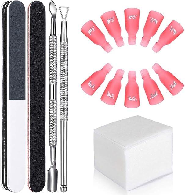 GeekerChip Kit de Herramientas para Uñas Removedor Clip10 clip para los dedos+100 Removedor Almohadillas+2 Lima de Uñas+1 Raspador+1 Empujador de Cutículas
