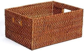 COUYY Panier de Rangement en rotin Haut de Gamme American Real Rattin Panier à la Main Extra Large Boîte de Rangement Rétr...