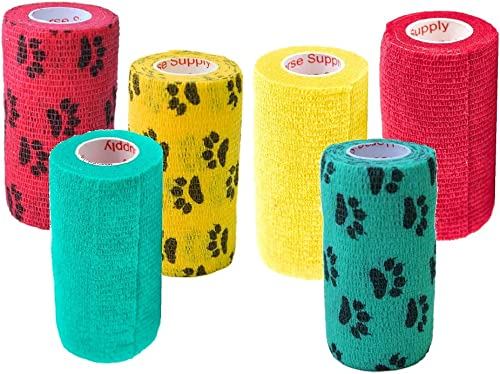 4 Inch Vet Wrap Tape Bulk (Assorted Colors) (6, 12, 18, or 24 Packs) Self-Adhesive Self Adherent Adhering Flex Bandag...