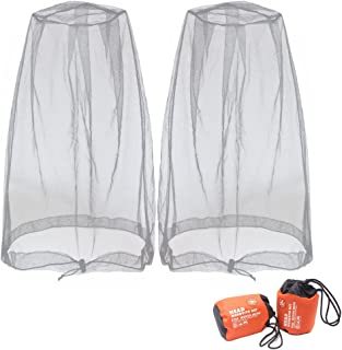 Benvo Head Net Mesh, Protective Cover Mask Face from Insect Bug Bee Mosquito Gnats for Any Outdoor Lover- with Free Carry Bags (2pcs, Grey, Updated Big Size)
