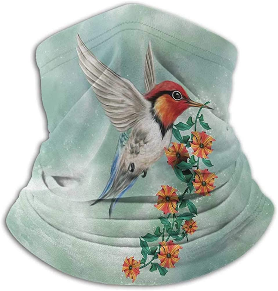 Hair Scarf Hummingbird For Men Women Outdoors/Festivals/Sports A Hummingbird Is Flying with A Flowered Branch Floral Nature Illustration Orange Green