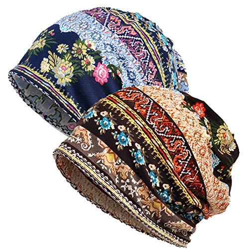 Welrog WELROG Chemo Hut Frau Hut Spitzen Kopftuch Super Weich Slouchy Turban Kopfbedeckungen Kopf Wraps(Mehrfarbig)