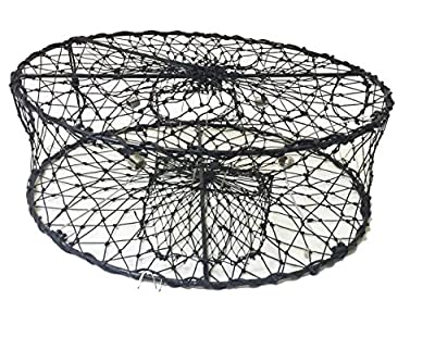 """KUFA CT50 Sports Foldable Crab Trap with 3 Durable Stainless Steel Spring, 30"""" x 10"""", Black"""