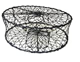 KUFA CT50 Sports Foldable Crab Trap with 3 Durable Stainless Steel Spring, 30' x 10', Black