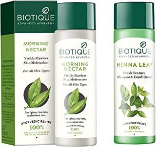Biotique Morning Nectar Flawless Skin Lotion for All Skin Types, 190ml And Biotique Henna Leaf Fresh Texture Shampoo and C...