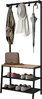Meerveil Porte-Manteau Vintage Vestiaire, Meuble d'entrée avec Étagère à 3 Niveaux, Garde-Robe, Portant Vêtements avec 5 C...