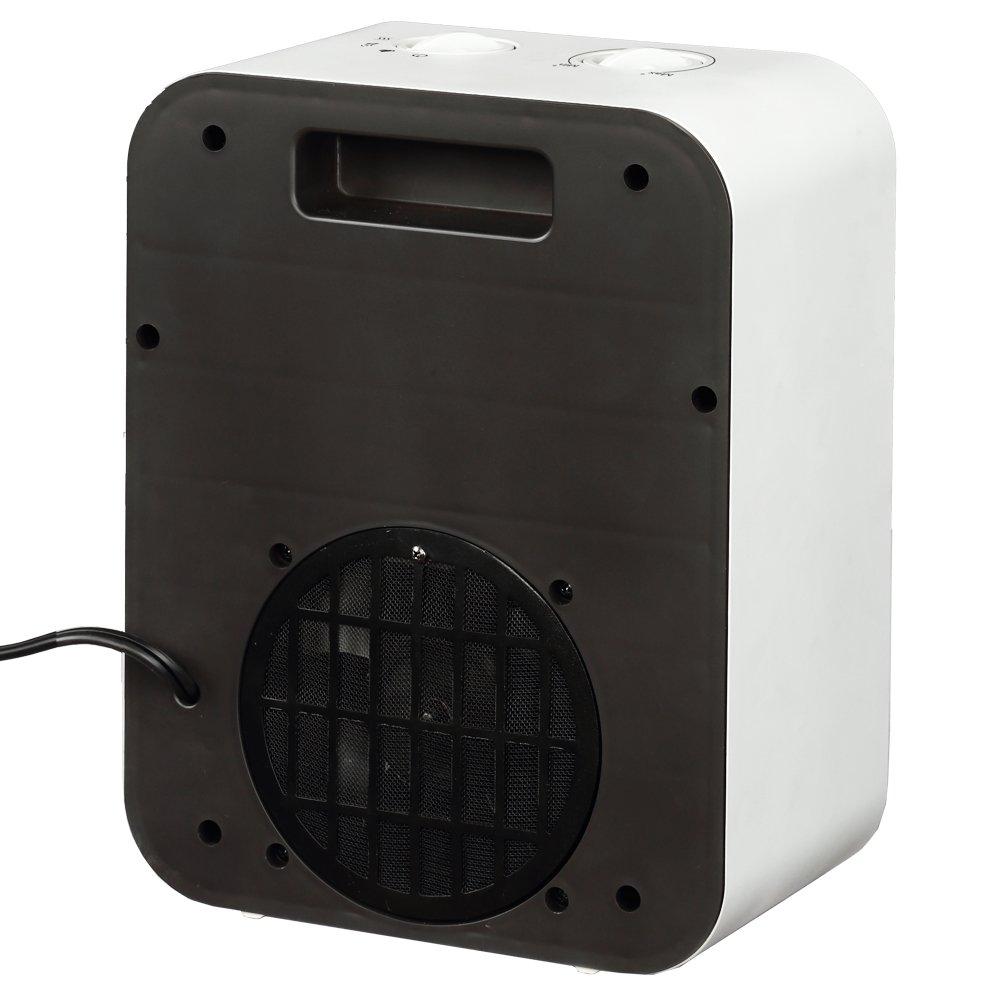 PuraFlame 1250W Clara White 9-Inch Mini Portable Electric Heater, White