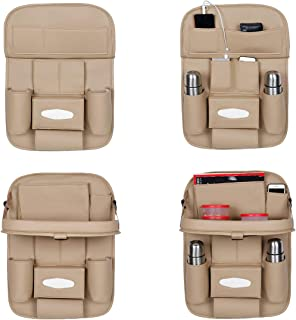 Autofurnish 3D Car Auto Seat Back Multi Pocket Storage Bag Organizer with Car Meal Tray-(Beige)-Set of 2?