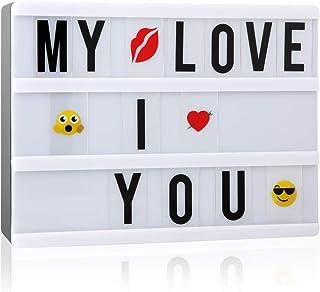 NXDRS Cinematic Light Letras Box, A5 Caja de Luz Cinematográfica con 110 Letters, Emojis y Símbolos, Light Cine Box Funciona con Pilas o Cable USB para CREA tu Propio Mensaje