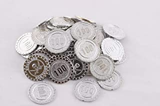 Amit Marketing Silver Color Numerical No. 100 Coins(Token) (Pack of 100 Pic), Silver Color