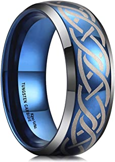 King Will 8mm Tungsten Carbide Ring Blue Wedding Band for Men Women Domed Laser Silver Celtic Knot