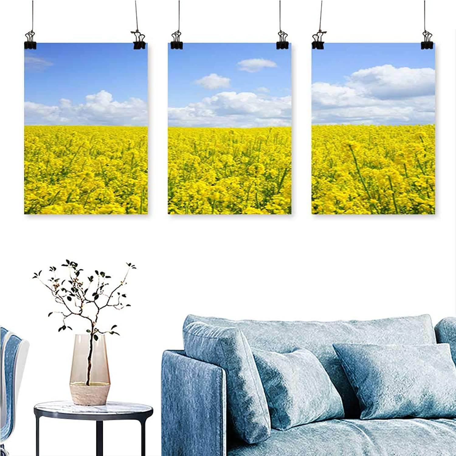 SCOCICI1588 3 Panels Triptych an Endless Rape Field for Home Modern Decoration No Frame 30 INCH X 60 INCH X 3PCS