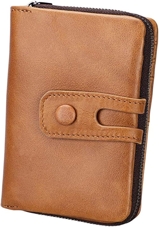 Sumferkyh Brieftasche Herrenbrieftasche RFID Blocking Minimalist Vintage Rindsleder Brieftasche mit Reißverschlusstasche für Männer Ledergeldbörse für Krotitkarten, Ausweise B07MXP87C8
