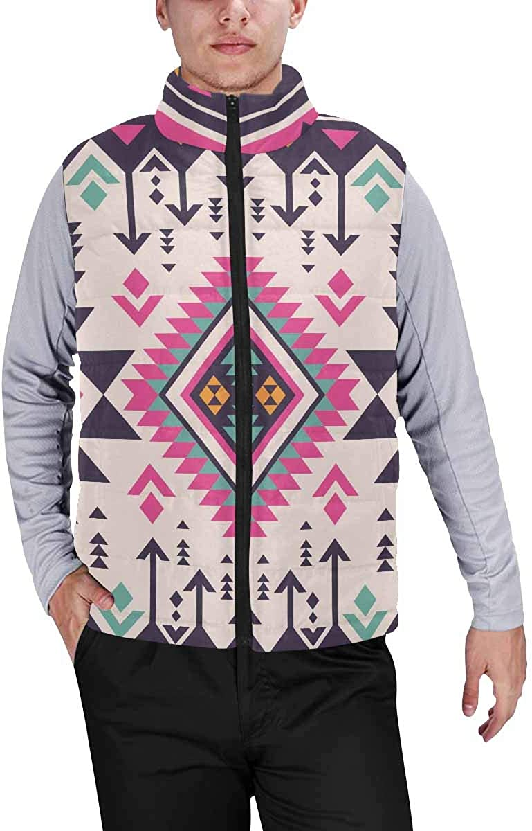 InterestPrint Casual Classic Quilted Sleeveless Vest for Men Repeating Watermelon Background Pattern