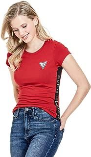 Women's Leann Logo Stripe Crewneck Fitted Short Sleeve Tee