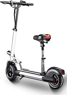 XULONG Scooters eléctricos Adultos Plegables, 200 kg Carga máxima con Asiento 10 Pulgadas 25km/H, batería de Litio 36V 12AH con Frenos de Disco duales, luz LED y Pantalla HD 55km Largo Alcance
