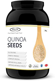 Sinew Nutrition Gluten Free White Quinoa Seeds 2 kg, Rich in Protein, Fibre and Iron