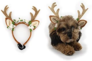 Funbase Pet Cat Dog Adjustable Antlers Headband Christmas Party Costume Puppy Hat(S/M/L)