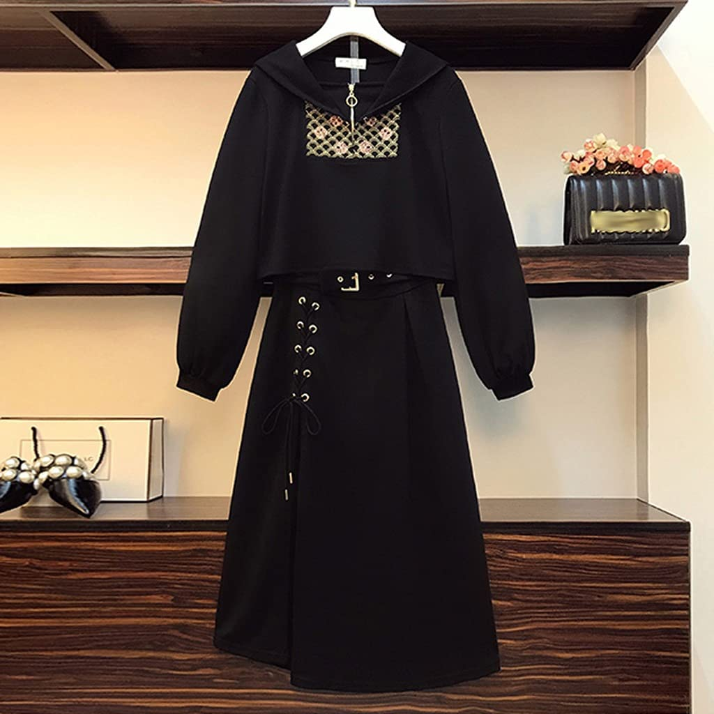 CHYSP Plus Size Women Tracksuit Pullover Top and Skirt Two Piece Set Female Sport Suit Autumn (Color : Black, Size : XX-Large)