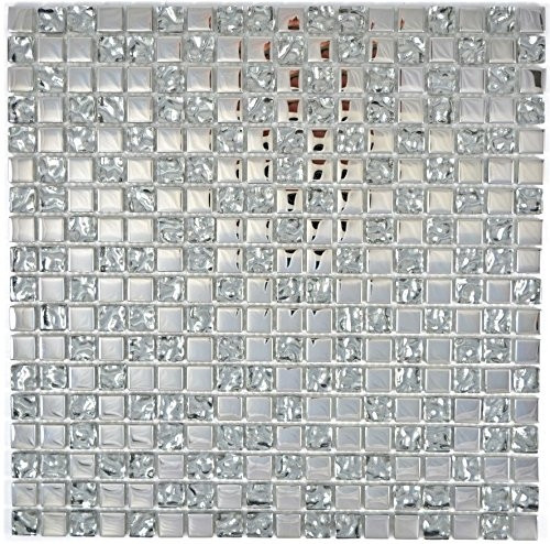 Mosaik Fliese Transluzent Glasmosaik Crystal EP Silber Glas für WAND BAD WC DUSCHE KÜCHE FLIESENSPIEGEL THEKENVERKLEIDUNG BADEWANNENVERKLEIDUNG Mosaikmatte Mosaikplatte