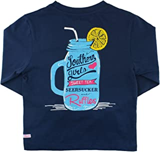 Little Girls Long Sleeve Signature Graphic Southern Pocket Tee