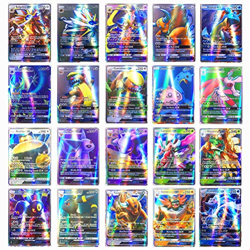 ZARQ Pokemon Karten GX Sammelkarten, Pokemonkarten 200 Stück Set mit 195 GX Pokemon-Karten und 5 Mega Pokemon Cards Kinder Pokemon Kartenspiele