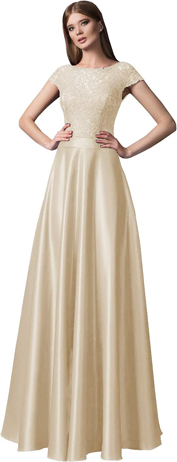 YnanLi Dress Women's Vintage Lace Short Sleeve Prom Dresses Long Satin Boat Neck Formal Evening Gown with Pockets