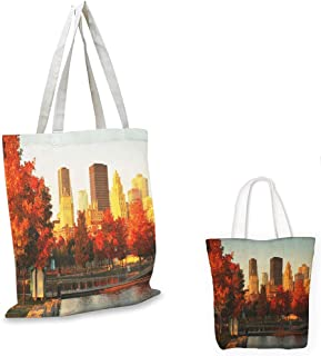 non woven shopping bag City Old Port of Montreal Early in the Morning Scenic Autumn Trees Buildings Canada Red Orange Brown sloth shopping bag