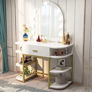 Tribesigns Large Vanity Table with Lighted Mirror and Drawer, Bedroom Makeup Table with 9 Lights and 6 Storage Shelves, Dr...