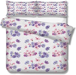 June Gissing Watercolor Duvet Cover Floral Pattern with Wedding Inspired Blossoming Nature Bridal Bouquet with Two Pillowcases 68x86 inch Lilac Lavender Pink
