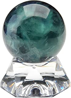 Top Plaza Divination Crystal Ball Sphere Natural Fluorite Gemstone Crystal Sphere Ball With Acrylic Base 1.2