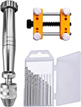 Novsix - Juego de brocas de mano para taladro de mano, 10 mini brocas, mini mesa de abrazadera plana, para metal, madera, joyas, trabajo manual delicado, montaje electrónico y fabricación de modelos