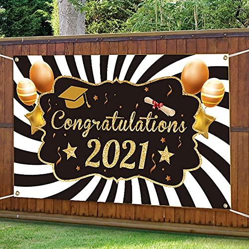 MWKL Lujoso patrón de Letras Banner de graduación - Bandera de Puerta Favores de Fiesta de graduación Suministros Banner Banderín para graduación Decoraciones para el hogar