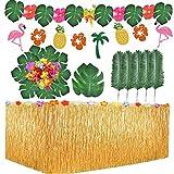 Aweyka Gonna Tavolo Hawaiana Tovaglia da Tavolo Set, Foglie di Palma Fiori hawaiani Banner di Ghirlanda di Fiori di Ananas e Fenicottero per Il Partito Luau Hawaiano Decorazioni da tavola