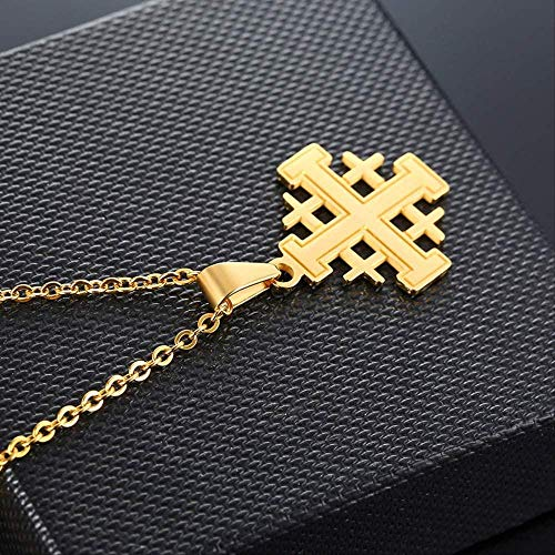 DUEJJH Co.,ltd Collar Biblia Jerusalén Cruz Cruzada Collares Pendientes Declaración Religiosa Medieval Cadenas de Acero Inoxidable Collar Joyería Unisex