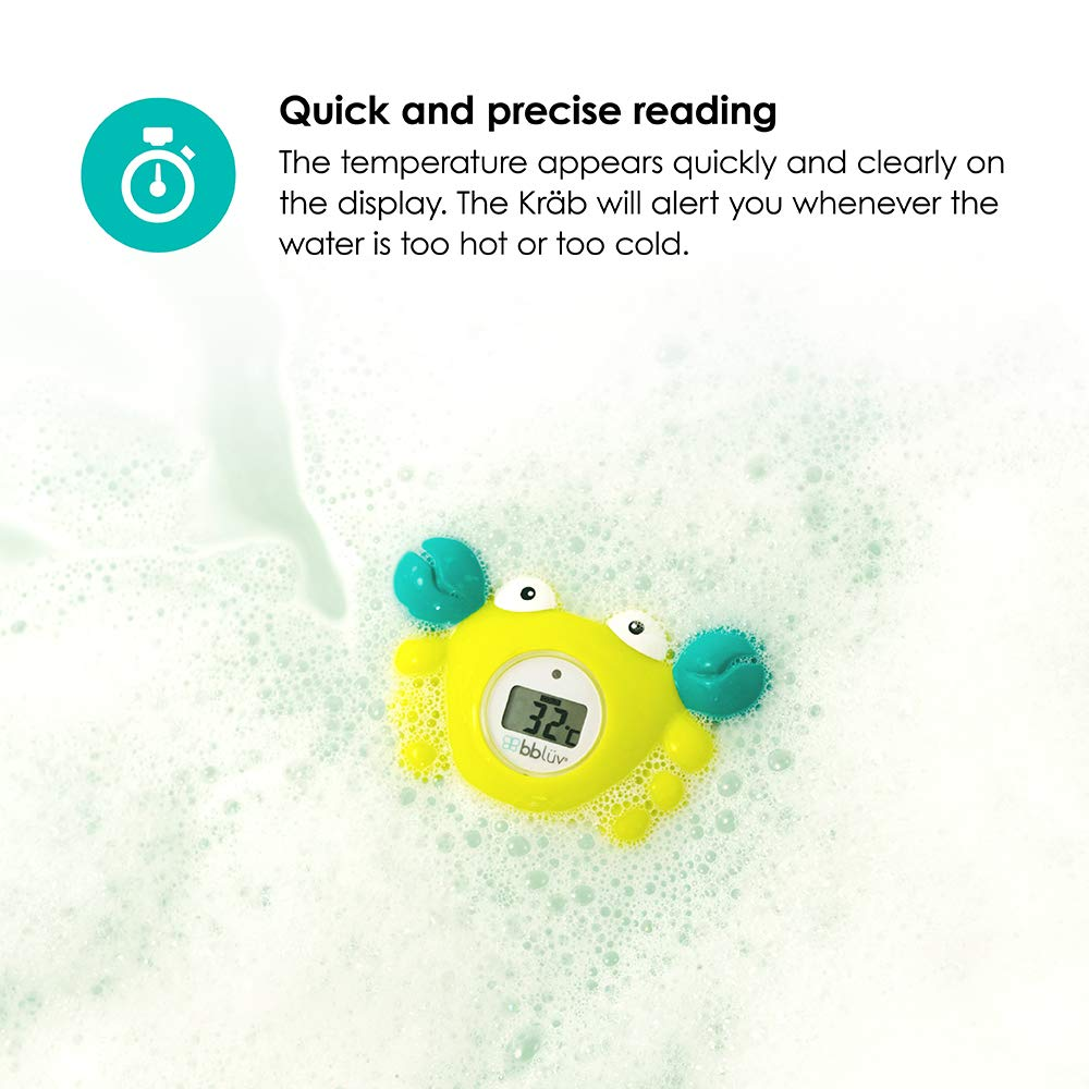 bblüv – Kräb 3-in-1 Bath Thermometer & Room Thermometer with LED Display, Floating Bath Toy
